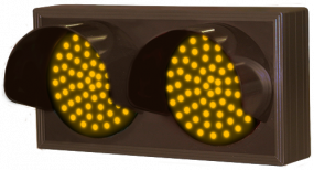 Indicator Dots, Double with Hoods, Horizontal, Amber - Amber
