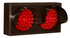 Indicator Dots, Double with Hoods, Horizontal, Red - Red