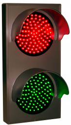 Directional Systems 30128 TCL147RG-225H/12-24VDC Indicator Dots, Double with Hoods, Vertical, 4 in dia, Red - Green (12-24 VDC) Image
