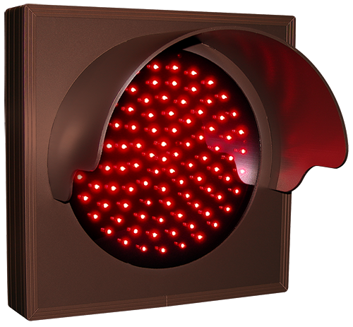 Directional Systems Product #30132 - Indicator Dot, Single with Hood and Optional Flashing, 4 in dia, Red