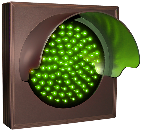 Directional Systems Product #30135 - Indicator Dot, Single with Hood and Optional Flashing, 4 in dia, Green
