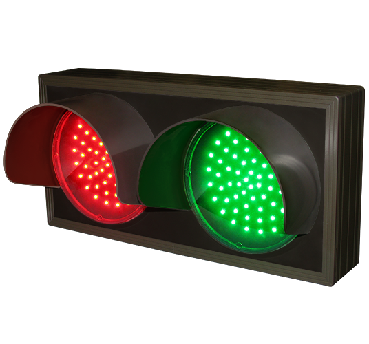 Directional Systems Product #33826 - Indicator Dots, Double with Hoods, Horizontal, 4 in dia, Red - Green (12-24VDC)