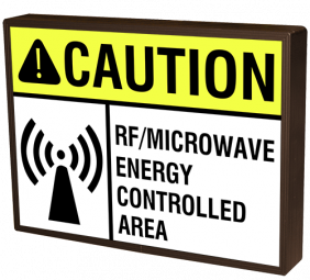 Directional Systems 43829 SBLF811W-L434YK CAUTION RF/MICROWAVE ENERGY CONTROLLED AREA w/Symbol Image