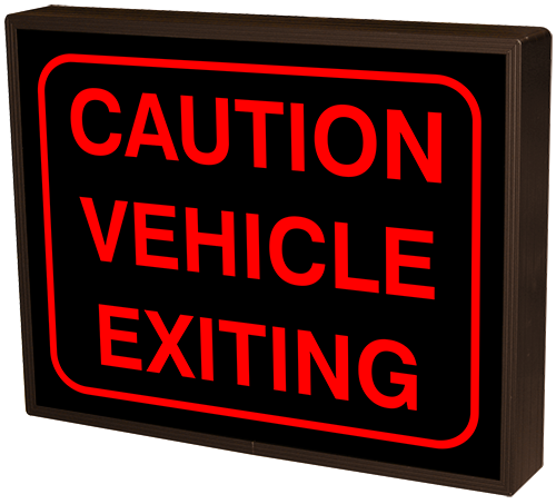 Directional Systems Product #44133 - CAUTION VEHICLE EXITING w/Border (12-24VDC)