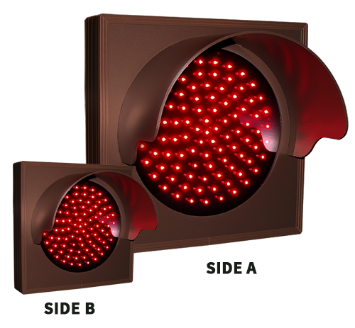 Directional Systems Product #48646 - Indicator Dot, Single with Hood and Optional Flashing, 4 in dia, Red, Double Face