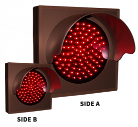 Directional Systems 48646 TCL77DRR-224H/12-24VDC Indicator Dot, Single with Hood and Optional Flashing, 4 in dia, Red, Double Face (12-24 VDC) Image