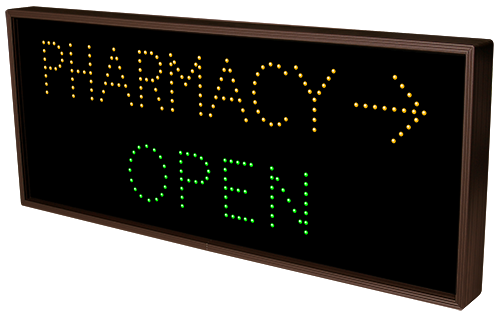 Directional Systems 5219 TCL1434AGR-A546 OPEN | CLOSED | PHARMACY w/Right Arrow Message 1 Image