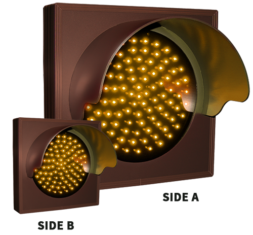 Directional Systems Product #57079 - Indicator Dot, Double Face, Single with Hood and Optional Flashing, 4 in dia, Amber