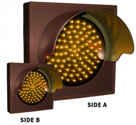Directional Systems 57079 TCL77DAA-224H/12-24VDC Indicator Dot, Double Face, Single with Hood and Optional Flashing, 4 in dia, Amber (12-24 VDC) Image