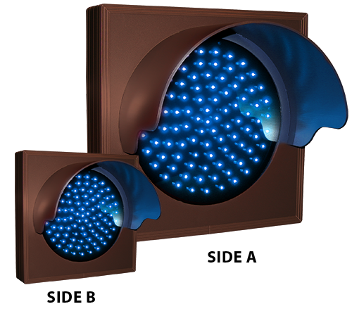 Directional Systems Product #57084 - Indicator Dot, Single with Hoods and with Optional Flashing, 4 in dia, Blue, Double Face