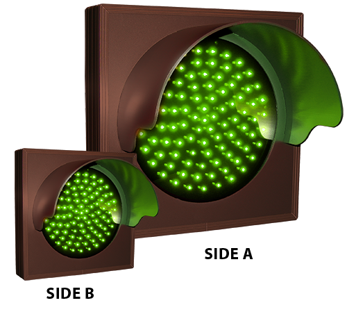 Directional Systems Product #57086 - Indicator Dot, Single with Hoods and Optional Flashing, 4 in dia, Green, Double Face