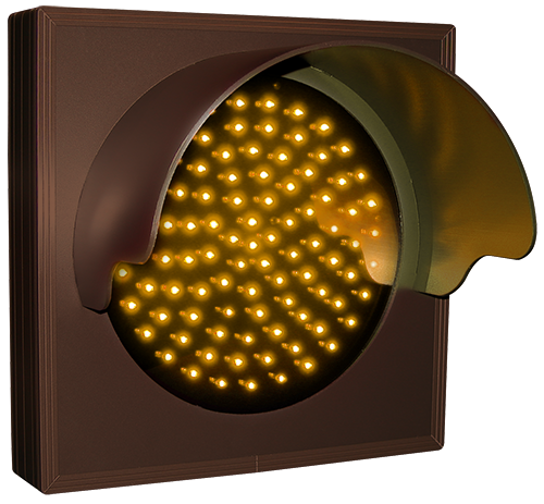 Directional Systems Product #6281 - Indicator Dot, Single with Hood and Optional Flashing, 4 in dia, Amber