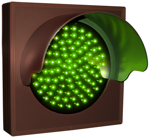 Directional Systems Product #6286 - Indicator Dot, Single with Hood and Optional Flashing, 4 in dia, Green