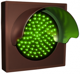 Indicator Dot, single, green, with hood and flashing