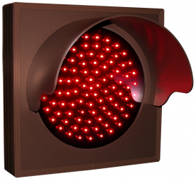 Indicator dot, single with hood and flashing, red