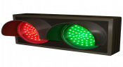 Indicator Dots, double with hoods, horizontal, Red - Green